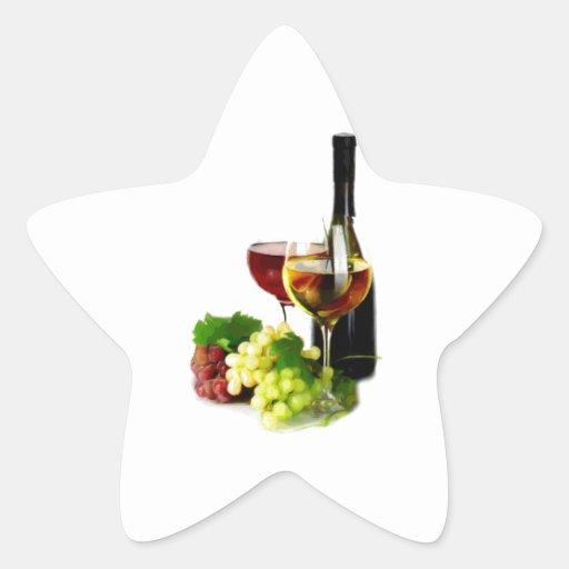 Uvas de vino pegatina forma de estrella personalizadas