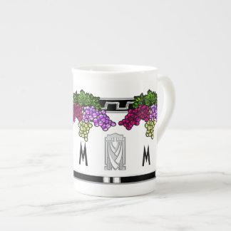 Uvas del art déco - cones monograma (taza de la po taza de porcelana