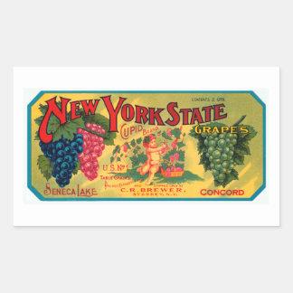 Uvas del Estado de Nuevo York Pegatina Rectangular