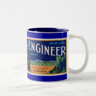 Uvas del ingeniero locomotor taza de café de dos colores