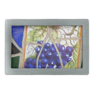 Uvas del mosaico hebilla cinturón rectangular