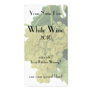 Uvas en la vid, fruta del vino blanco de la comida etiqueta de envío
