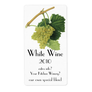 Uvas en la vid, fruta del vino blanco de la comida etiquetas de envío