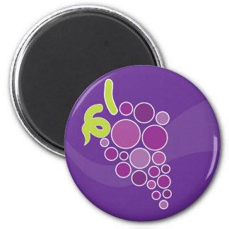 Uvas púrpuras imán redondo 5 cm