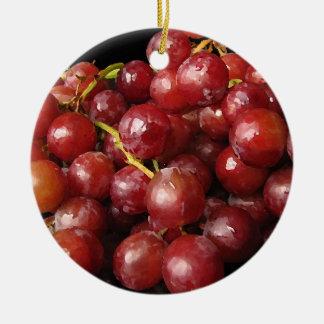 Uvas rojas adorno redondo de cerámica
