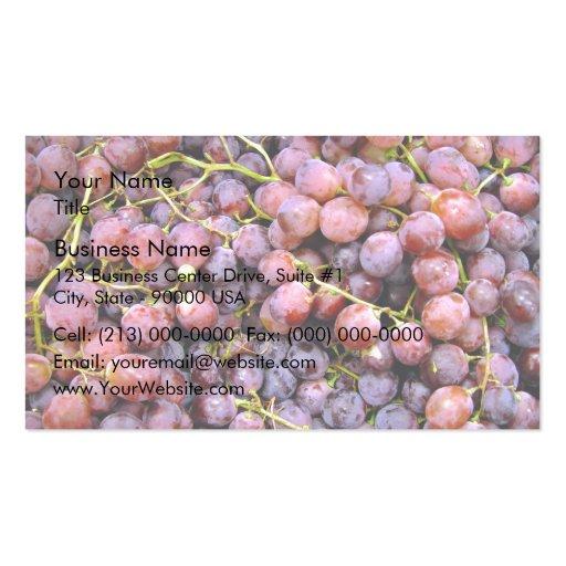 Uvas rojas frescas del globo tarjeta personal