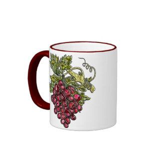 Uvas rojas taza de café