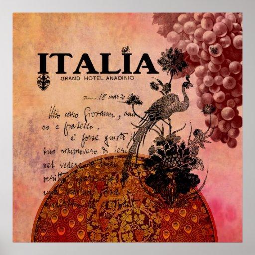 Uvas rosadas Italia Poster