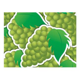 Uvas verdes enrrolladas tarjeta postal