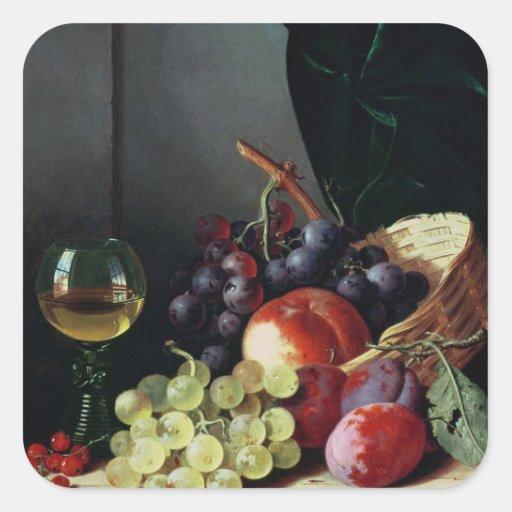 Uvas y ciruelos pegatina cuadrada