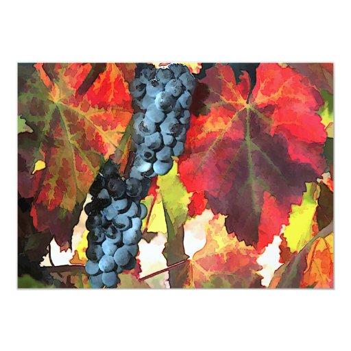 """Uvas y hojas del tiempo de cosecha invitación 5"""" x 7"""""""