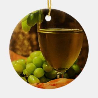 Uvas y jugo adorno redondo de cerámica