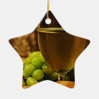 Uvas y jugo adorno de cerámica en forma de estrella