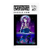 mermaid, gothic, twilight, moon, ocean, sea, turtle, horse, coral, purple, blue, faery, faerie, fantasy, myka, jelina, art, fine, siren, undersea, Stamp with custom graphic design