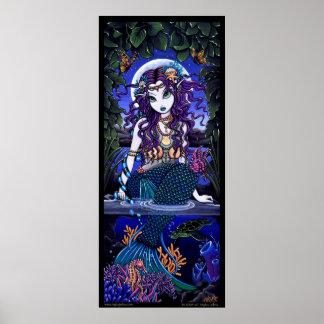 Uxia Original Ocean Scape Dark Mermaid HUGE Poster