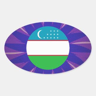 Uzbek Flag Souvenir Oval Sticker