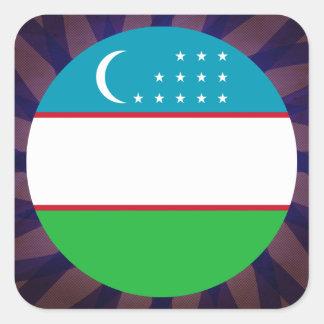 Uzbek Flag Souvenir Square Sticker