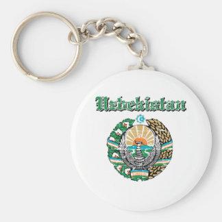 Uzbekistan coat of arms designs basic round button keychain