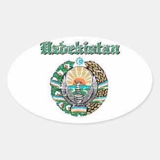 Uzbekistan coat of arms designs oval sticker