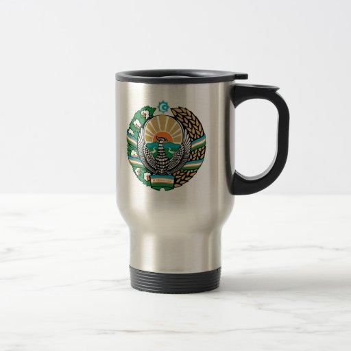 Uzbekistan Coat of Arms detail 15 Oz Stainless Steel Travel Mug