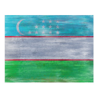 Uzbekistan distressed flag postcard
