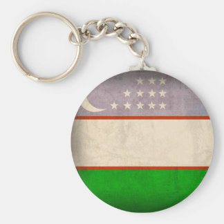 Uzbekistan Flag Distressed Keychain
