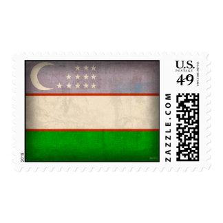 Uzbekistan Flag Distressed Stamps