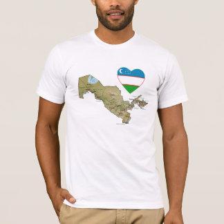Uzbekistan Flag Heart and Map T-Shirt