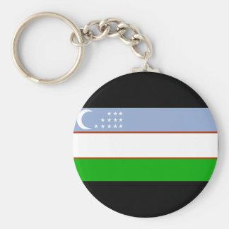 Uzbekistan Flag Basic Round Button Keychain