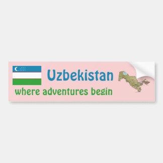 Uzbekistan Flag + Map Bumper Sticker