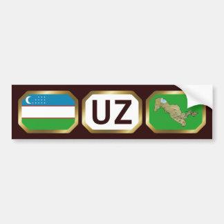 Uzbekistan Flag Map Code Bumper Sticker Car Bumper Sticker