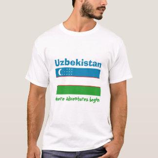 Uzbekistan Flag + Map + Text T-Shirt