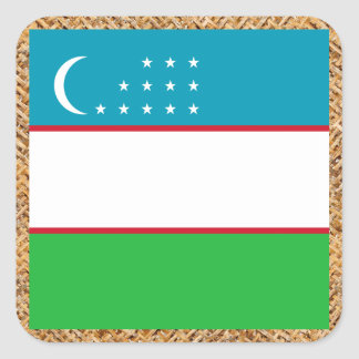 Uzbekistan Flag on Textile themed Square Sticker