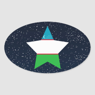 Uzbekistan Flag Star In Space Oval Sticker
