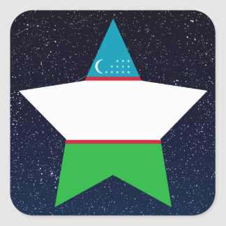 Uzbekistan Flag Star In Space Square Sticker