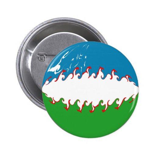 Uzbekistan Gnarly Flag Buttons