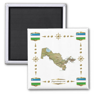 Uzbekistan Map + Flags Magnet