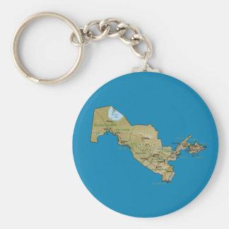 Uzbekistan Map Keychain