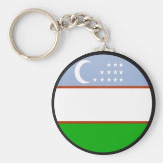 Uzbekistan quality Flag Circle Basic Round Button Keychain