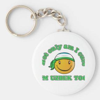 Uzbekistan smiley flag designs basic round button keychain