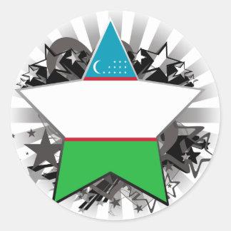 Uzbekistan Star Classic Round Sticker