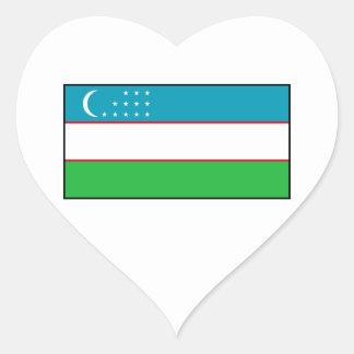 Uzbekistan – Uzbek Flag Heart Stickers