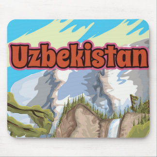 Uzbekistan vintage travel poster mouse pad