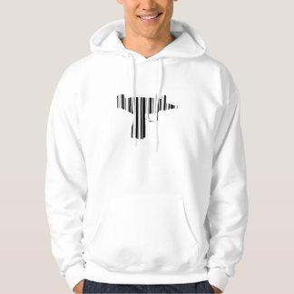 UZI BAR CODE Gun Barcode Pattern Design Hoodie