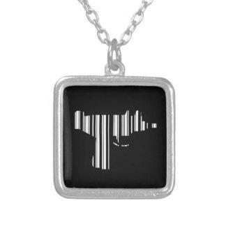 UZI BAR CODE Gun Barcode Pattern Design Silver Plated Necklace