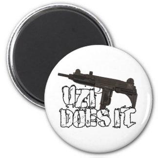 Uzi dispara contra la camiseta de la camisa el | U Imán Redondo 5 Cm