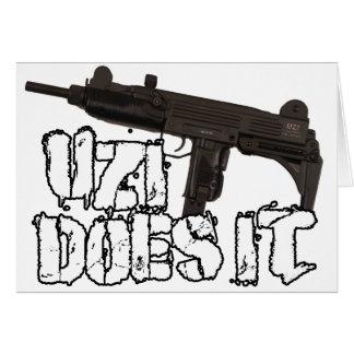 Uzi dispara contra la camiseta de la camisa el | U Tarjeta De Felicitación