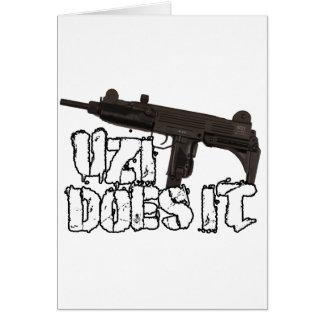 Uzi Does it Gun Shirt | Uzi T-shirt Card