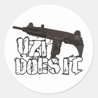 Uzi Does it Gun Shirt | Uzi T-shirt Round Stickers