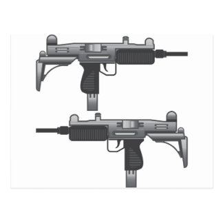 Uzi Gun vector Postcard
